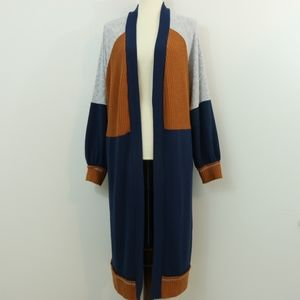 Umgee Cotton Blend Colorblock Ribbed Cardigan